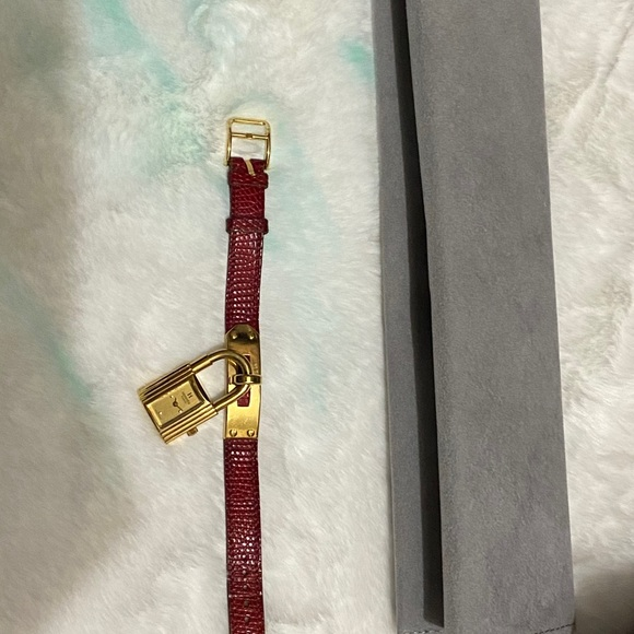 Authentic Hermes Kelly Watch, Lizard leather